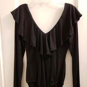 Black V-Neck Long Sleeve Bodysuit
